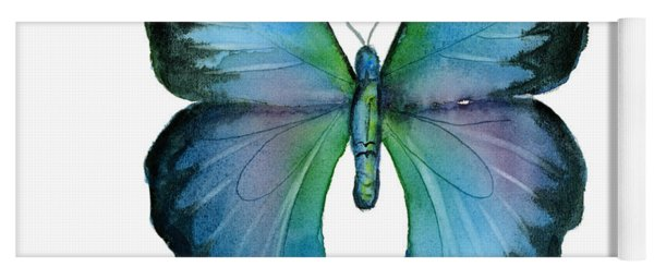 12 Blue Emperor Butterfly Yoga Mat