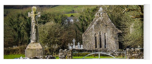 12th Century Cross And Church In Ireland Yoga Mat