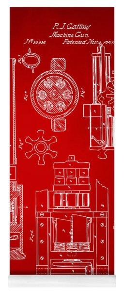 1862 Gatling Gun Patent Artwork - Red Yoga Mat