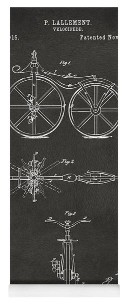 1866 Velocipede Bicycle Patent Artwork - Gray Yoga Mat