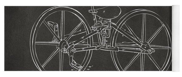 1869 Velocipede Bicycle Patent Artwork - Gray Yoga Mat