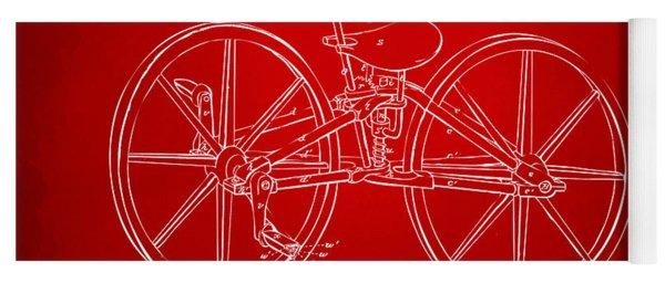 1869 Velocipede Bicycle Patent Artwork Red Yoga Mat
