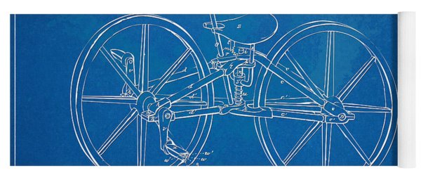 1869 Velocipede Bicycle Patent Blueprint Yoga Mat