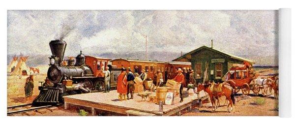 1870s Early Railroad Commerce Travel Yoga Mat