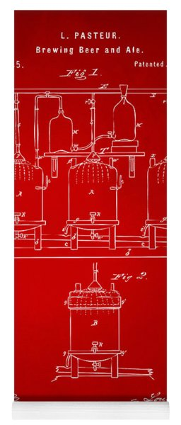 1873 Brewing Beer And Ale Patent Artwork - Red Yoga Mat