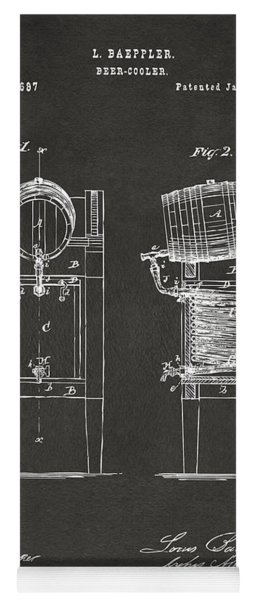 Yoga Mat featuring the digital art 1876 Beer Keg Cooler Patent Artwork - Gray by Nikki Marie Smith