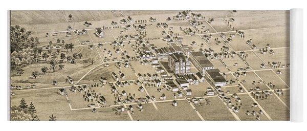 1876 Birds Eye Map Of Mckinney Texas Yoga Mat