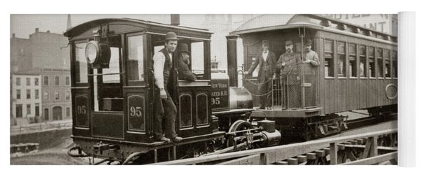 1880s Men On Board Elevated Locomotive Yoga Mat