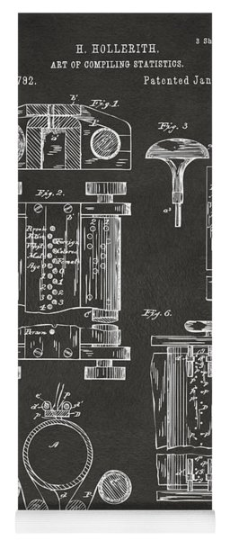 Yoga Mat featuring the digital art 1889 First Computer Patent Gray by Nikki Marie Smith