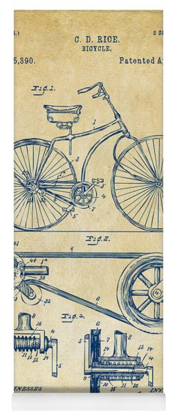 Yoga Mat featuring the digital art 1890 Bicycle Patent Artwork - Vintage by Nikki Marie Smith