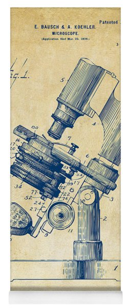 Yoga Mat featuring the digital art 1899 Microscope Patent Vintage by Nikki Marie Smith
