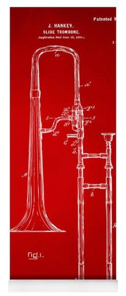 1902 Slide Trombone Patent Artwork Red Yoga Mat