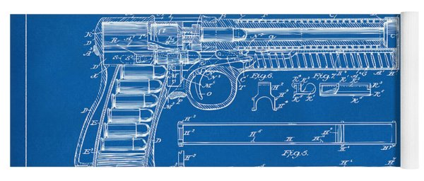 1903 Mcclean Pistol Patent Artwork - Blueprint Yoga Mat