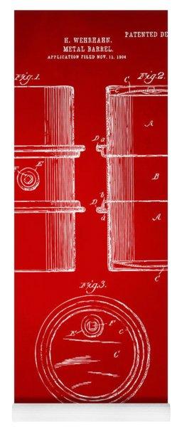 1905 Oil Drum Patent Artwork - Red Yoga Mat