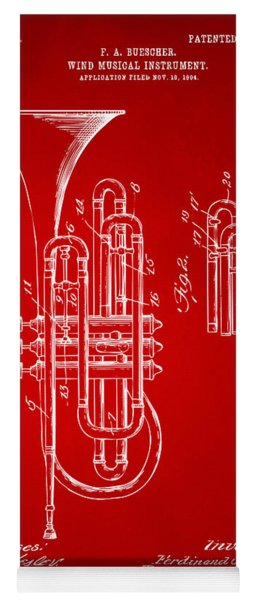 1906 Brass Wind Instrument Patent Artwork Red Yoga Mat