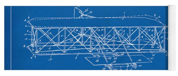 Yoga Mat featuring the digital art 1906 Wright Brothers Flying Machine Patent Blueprint by Nikki Marie Smith