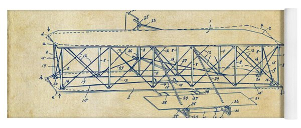 1906 Wright Brothers Flying Machine Patent Vintage Yoga Mat