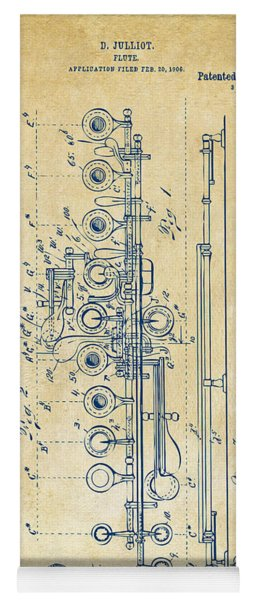 Yoga Mat featuring the digital art 1908 Flute Patent - Vintage by Nikki Marie Smith