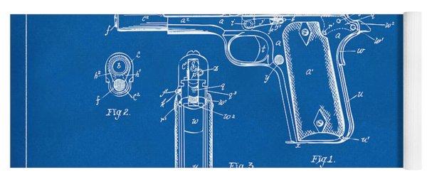 1911 Colt 45 Browning Firearm Patent Artwork Blueprint Yoga Mat