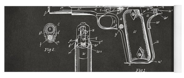 Yoga Mat featuring the digital art 1911 Browning Firearm Patent Artwork - Gray by Nikki Marie Smith