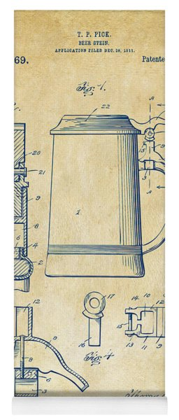 1914 Beer Stein Patent Artwork - Vintage Yoga Mat