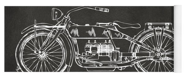 Yoga Mat featuring the digital art 1919 Motorcycle Patent Artwork - Gray by Nikki Marie Smith
