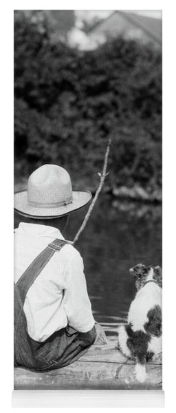 1920s 1930s Farm Boy Wearing Straw Hat Yoga Mat
