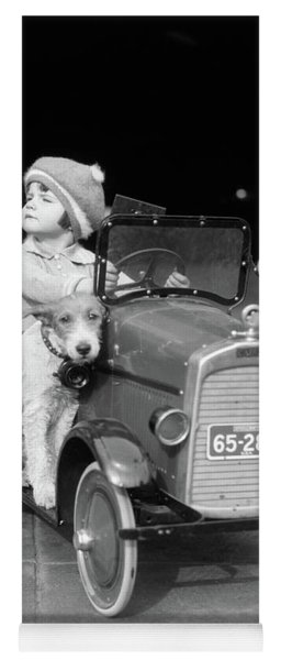 1920s Girl In Toy Pedal Car With Dog Yoga Mat
