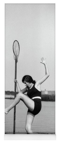 1920s Woman Crabbing Surprised By Crab Yoga Mat