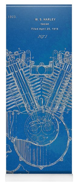 Yoga Mat featuring the digital art 1923 Harley Davidson Engine Patent Artwork - Blueprint by Nikki Smith