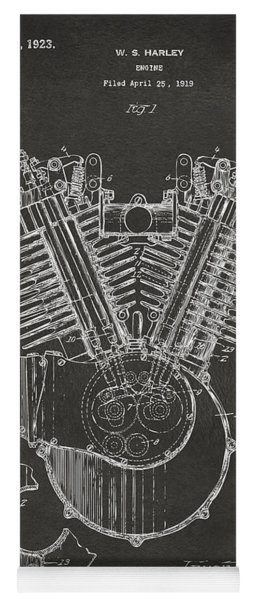Yoga Mat featuring the digital art 1923 Harley Engine Patent Art - Gray by Nikki Marie Smith