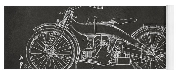 Yoga Mat featuring the digital art 1924 Harley Motorcycle Patent Artwork - Gray by Nikki Marie Smith