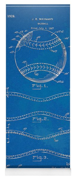 Yoga Mat featuring the digital art 1928 Baseball Patent Artwork - Blueprint by Nikki Smith