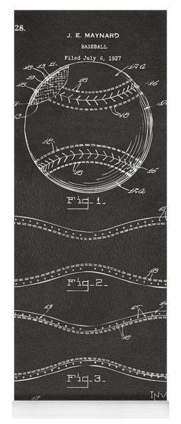 Yoga Mat featuring the digital art 1928 Baseball Patent Artwork - Gray by Nikki Marie Smith