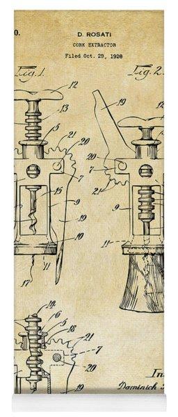 1928 Cork Extractor Patent Art - Vintage Black Yoga Mat