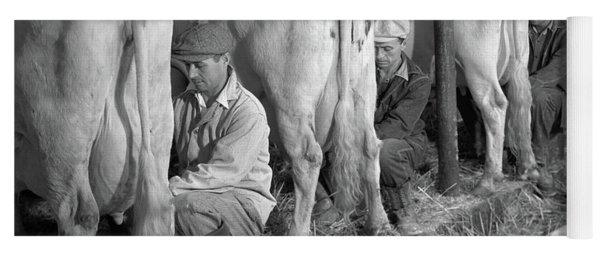 1930s 1940s Three Men Hand Milking Yoga Mat