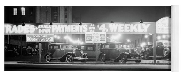 1930s New And Used Car Lot At Night Yoga Mat