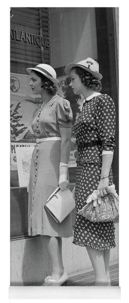 1930s Two Young Women Window Shopping Yoga Mat