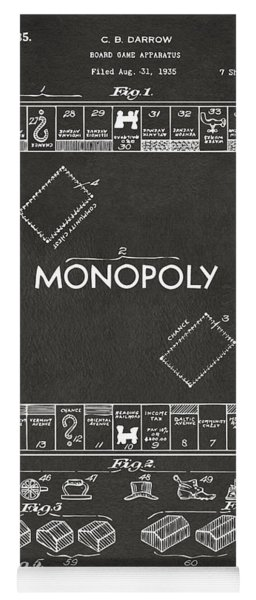 Yoga Mat featuring the digital art 1935 Monopoly Game Board Patent Artwork - Gray by Nikki Marie Smith