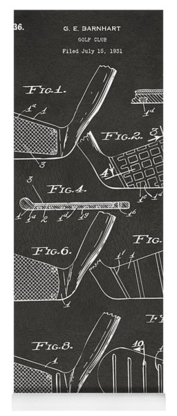 Yoga Mat featuring the digital art 1936 Golf Club Patent Artwork - Gray by Nikki Marie Smith
