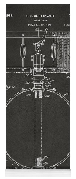 1939 Snare Drum Patent Gray Yoga Mat