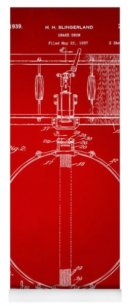 1939 Snare Drum Patent Red Yoga Mat