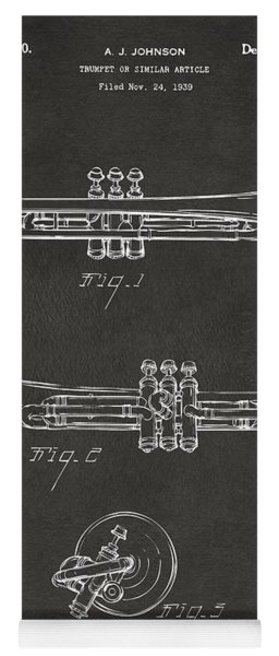 1940 Trumpet Patent Artwork - Gray Yoga Mat