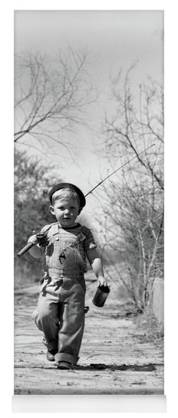 1940s Boy Walking Down Country Road Yoga Mat