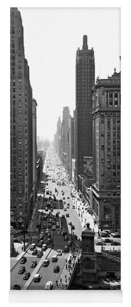 1940s Downtown Skyline Michigan Avenue Yoga Mat