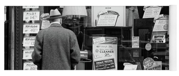1940s Man Looking At Window Display Yoga Mat