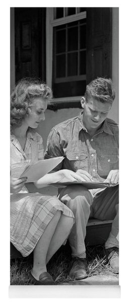 1940s Young Couple Man Woman Sitting Yoga Mat