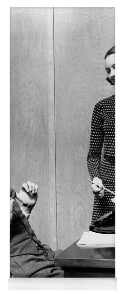 1940s Young Teenage Couple Boy At Desk Yoga Mat