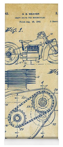 Yoga Mat featuring the digital art 1941 Indian Motorcycle Patent Artwork - Vintage by Nikki Marie Smith