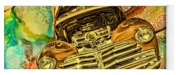 1948 Chev Gold Tie Dye Tilt Car Art Yoga Mat